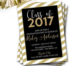 Black and Gold Graduation Invitation, Class of 2017, Gold Graduation Invitation, Glitter Invitation, DIY Printable