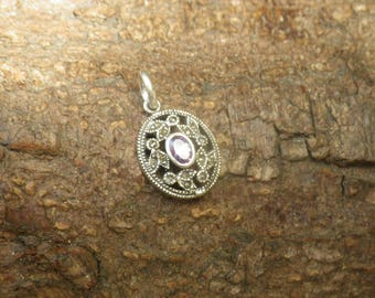 Stunning Sterling Silver Amethsyt Marcasite Necklace Pendant