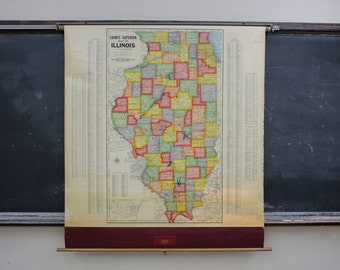Map of Illinois Vintage Pull Down Wall Decor