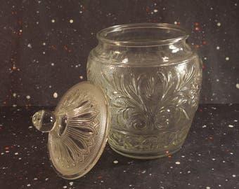Sandwich Glass Cookie Jar Vintage Anchor Hocking Kitchen Decor