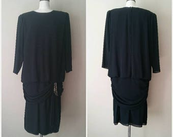 Black 80s does 20s Flapper Inspired Drop Waist Dress XL, Size 18W Black Flapper Dress, Drop Waist Charm Dress,20s Inspired Dress,XXL Vintage