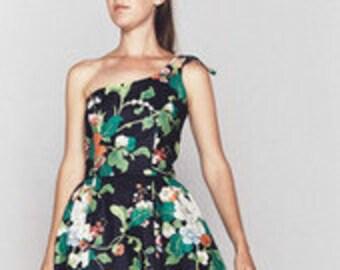 80s Blair Woolverton Black Floral Dress