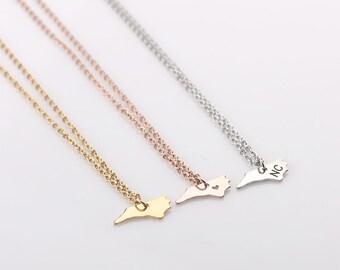 Tiny North Carolina Necklace, Gold North Carolina Necklace, Rose Gold State Charm State Necklace,  Silver NC Small State Charm