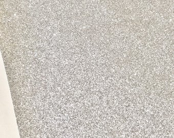 Fine Silver Glitter Fabric Sheet Thin 0.6mm A4 or A5 Sheet Fine Silver Glitter Fabric A4 Sheets