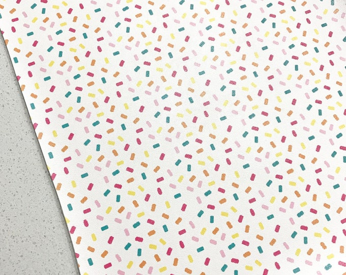 Candy Sprinkles Leatherette Sheets for Leatherette Bows 0.9-1mm Thickness Sprinkles Printed Leatherette