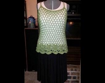 Crochet Cami Top - Beautiful Crochet Floral Cami, Open Crochet top - green