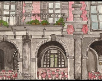 Sweet outdoor cafe in Rome, enjoy some lunch and share the love Card or Print, Drawing with Watercolor accents, Item #0410a