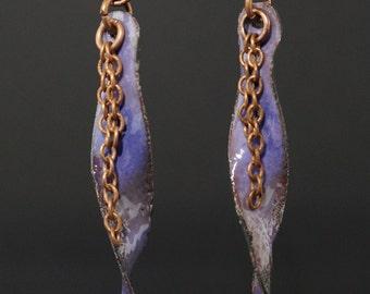 """Organic """"freeform"""" enameled copper earrings, purple copper earrings, rustic copper earrings, organic boho earrings, boho copper jewelry"""