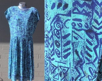 Size Small Medium Turquoise Indigo Blue Summer Dress Tribal print bohemian relaxed beach festival 90s