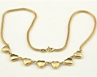 Vintage 14k Yellow Gold Mutliple Hearts & Woven Chain Necklace Italy