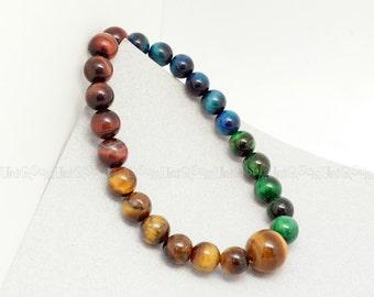 Tigers eye gemstones beaded bracelet Red Blue Green Brown Bracelet