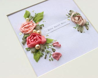 Home sweet home, new home, moving home, housewarming gift, silk ribbon, roses, flowers, floral, silk, framed, hoop art, gift idea