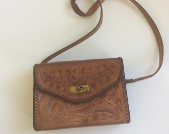 Vintage Tooled Leather Purse Handbag Fifties Sixties Mexico