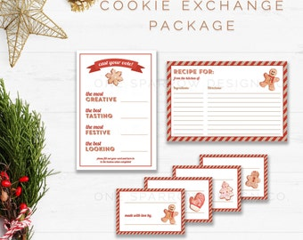 Instant Download Christmas/Holiday Cookie Exchange Printable Party Package