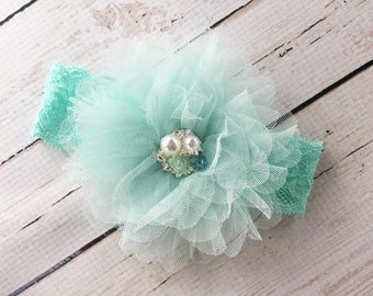 New Baby Welcome Gift - Baby Baptism Headband - Mint Green Flower Headband - Going Home Headbands - Easter Outfit Headband - Baby Gift
