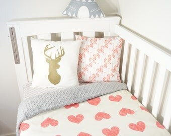 Coral red and grey hearts nursery items