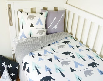 Mint, blue and black bear, teepee forest nursery items (grey minky quilt backing)