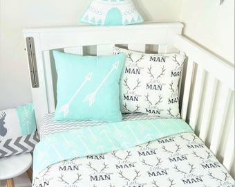 Little Man, antlers, tribal arrows and mint accents nursery set items
