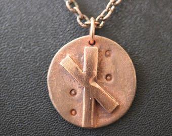 Copper Nauthiz Rune Pendant, Viking Jewelry, Strength, Endurance