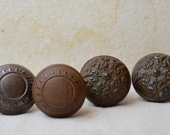 Antique Iron Doorknobs, 1860's, Mismatch Patterns