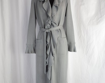vintage ST JOHN Collection waterfall ruffled maxi sweater coat cardigan style/ medium grey Santana knit: size 4 but fits 10-12 US woman
