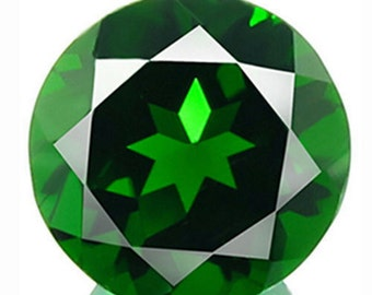 0.45 cts Green Chrome DIOPSIDE Round Faceted Clean Natural Gemstone Russia