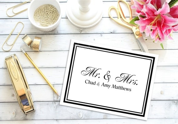 Mr. and Mrs. Note Cards - Note Cards - Personalized Stationery - Notecards - Mr. and Mrs. - Thank You Notes - Wedding Thank You Notes