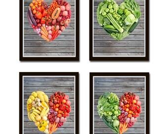 Set of 4 Kitchen Prints Rustic Kitchen Art, grey Wood background, Fruit Vegetable Art, Still Life Apples, heart, vegetables, fruits *2*