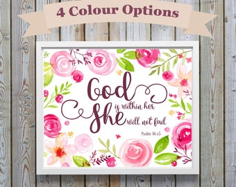 Christian Wall Art, Nursery Decor Girl, Bible Verse Print, Biblical Quotes, Christian Gifts, Psalm 46 5, God Is Within Her, Girls Prints bff