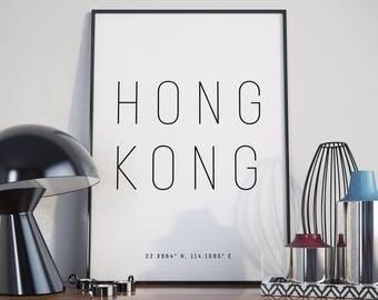 Hong Kong Typography Print. Poster.