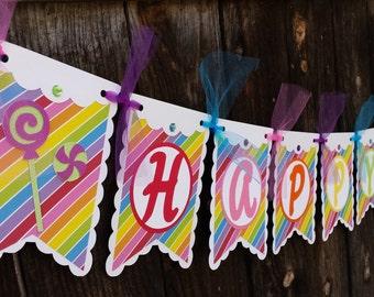 Candy Theme Birthday Banner - Candy Birthday Banner - Happy Birthday Candy Banner - Candy Theme Birthday - Candy Birthday Decor sign