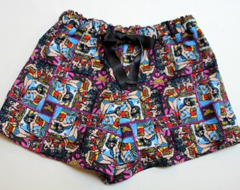 Wonder Woman Sleep Shorts.  Super Hero.  High quality Custom Flannel Shorts.
