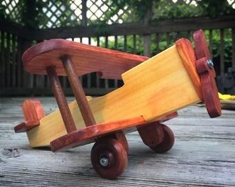 Wooden toy biplane, Handemade toy, Wood plane, Original toy, Toddler toy, Wood airplane