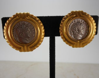 Vintage Gold Tone Roman Coin Clip On  Earrings
