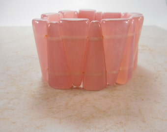 Vintage Pink Lucite Stretch Bracelet Triangle Design