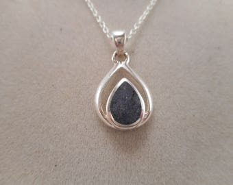 Vintage Sterling Silver Blue Sodalite Gemstone TearDrop Pendant with Chain Necklace 18 inch