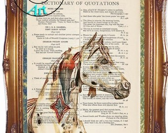 Appaloosa War Pony Critter Graphics & Simplify Drawing Art Vintage Dictionary Page Art Print Upcycled Page Print