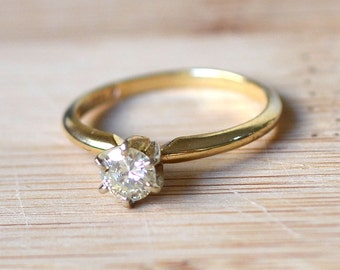 14 Karat Yellow Gold Solitaire Ring with a 0.45 Carat Diamond - Vintage Solitaire Diamond Engagement Ring - Solitaire Engagement Ring