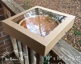 "5 Each •  10"" x 10"" x 2 1/2"" Kraft Easy Open Brown/Brown Bakery Box With Window  • Pie Box • Cookie Swap • Deli Box • Gift Box"