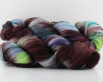 Hand dyed yarn, 100% Super Wash Merino, fingering weight,  400 yards, 'Ice Queen'