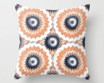 Outdoor Throw Pillow, Outdoor Pillow, Navy Melon Orange White Decor, Outdoor Decor