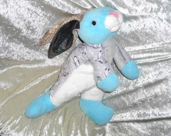 Frosty WINTER BUNNY PENGUINS soft toy rabbit turquoise gray nursery home decor children Handmade rabbit for boys stuffed animal plush ooak