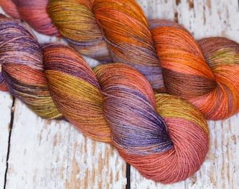 Hand Dyed Sock Yarn, Superwash Merino Wool Nylon in Orange Green and Purple