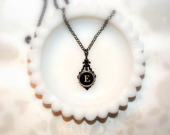 Typewriter Key Necklace, Personalized Initial Necklace with a Letter E, Gift for Her, Typography Jewelry.