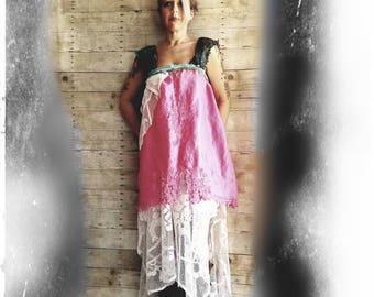 Pink Sunshine Shabby strawberries n cream linen Battenburg layered lace prairie gypsy floral ruffle rustic Boho dress top