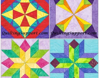 10 Inch EQ Star Foundation Set 2 Paper Piece Quilting 4 Block Patterns PDF