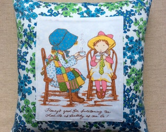 Vintage 1970s Holly Hobbie Applique Fabric Cushion With Interior 40cmx 40cm
