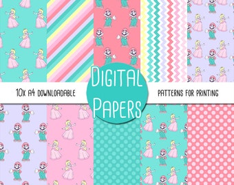 Super Mario and Princess Peach, Nintendo Themed A4 Digital Paper - Instant Download for Printing and Scrapbooking