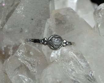 Hand forged Rough Diamond set Sterling Silver ring