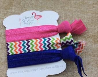 Crease free hair ties, rainbow hair tie, pink hair tie, crease free hair band, hair tie, chevron hair band, neon hair tie